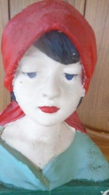 Antique Plaster bust stamped France 232 Old Vintage French Pretty Young Lady