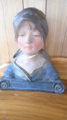 Plaster bust Antique stamped France 232 Old Vintage French Pretty Young Lady