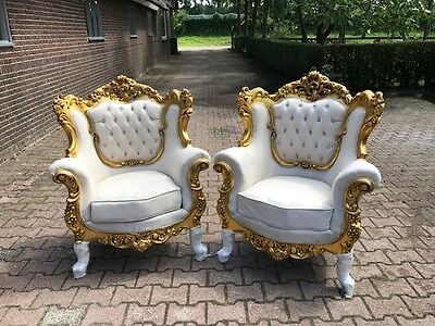 Antique Baroque Chair Set French Style: Two Chairs (2 Pieces)