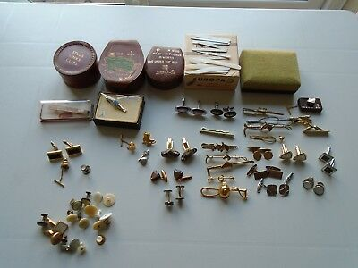 Vintage Cuff Links Tie Pin Studs Leather Boxes Large Collection Job Lot. Gc