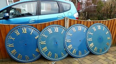 "Four Turret/Church/Tower Clock Dials 36"" gold leaf Roman Numerals, hole 1"""