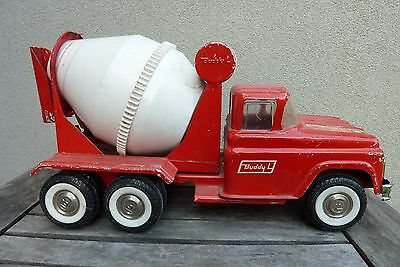 Vintage Red Buddy L Cement Truck, Pressed Steel Toy Vehicle 60's