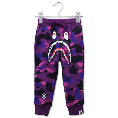 A bathing bape BAPE Child pants trousers shark mouth Camouflage long pants