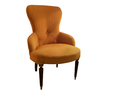 A M A Z I N G  Mid Century Modern Italian Wood and Brass Cocktail Chair