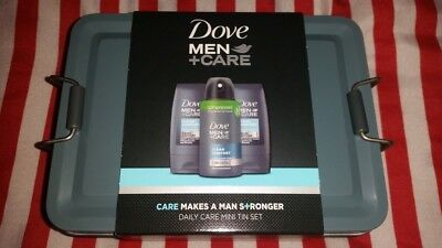 Mens Dove Gift Set In A Tin BNWT Face Body Wash Antiperspirant Unwanted Gift New