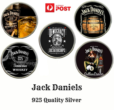Collectable Jack Daniels 925 Silver Swivel Clip Hard Dome Top KeyRing Key Ring