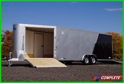 ALUMINUM ATC 8.5X28 Enclosed 4 Place Snowmobile Car Trailer: Screwless, 2 Ramps