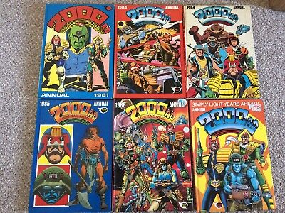2000AD Annuals, x6. 1981,83,84,85,86 and 1987