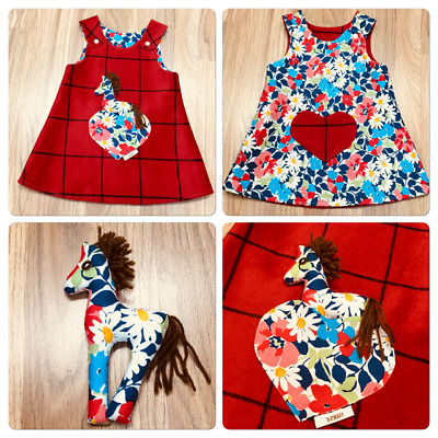 Handmade Reversible girl's Red Check Tweed Size: New Born - 9 Years