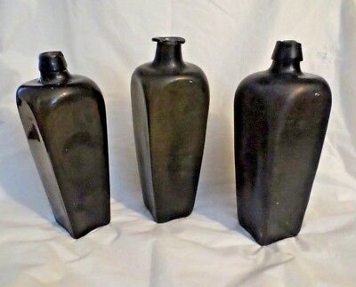 SHIPWRECK SALVAGE ANTIQUE SQUARE GLASS LIQUOR BOTTLES - SET OF 3 Cased Glass
