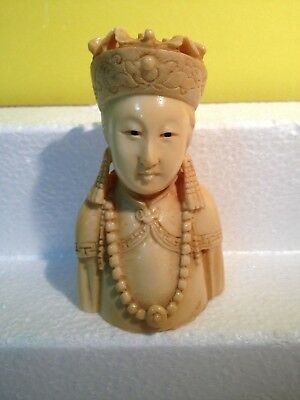"Antique Figurine Bust of Asian Japan / China  Woman Queen 4"" Tall"