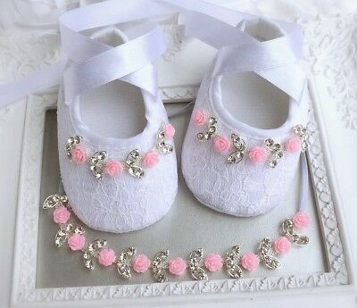Baby Girl White Pink Christening Baptism Shoes Headband Set Rhinestone Wedding