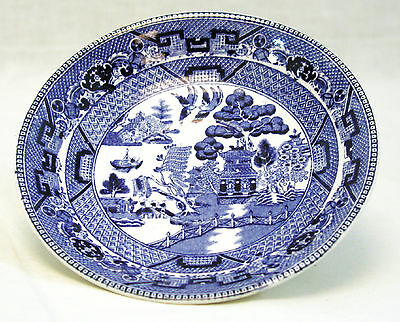 "Antique Buffalo Pottery BLUE WILLOW 6"" Saucer Semi-Vitreous 1917"