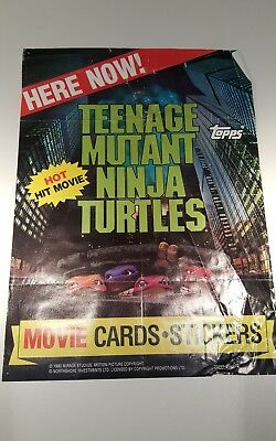 1990 Teenage Mutant Ninja Turtles Movie Cards Stickers Topps Promo Poster TMNT