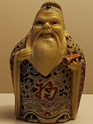Vintage Chinese carved ivory resin good luck figure Marked to Base