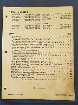 Vintage Mercury Marine - Merc 450M-S 500M-E-S Parts Manual - 1965 - Original