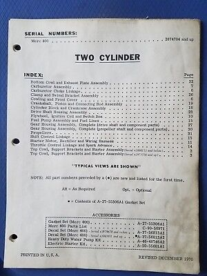 Vintage Mercury Marine - Merc 400 Two Cylinder Parts Manual - 1970 - Original