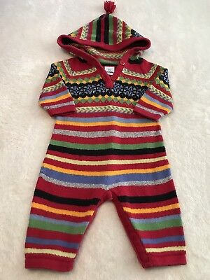 Hanna Andersson size 70 baby bunting knit sweater one piece bodysuit hood  G1