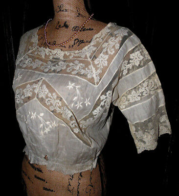 Antique Edwardian Romantic White Floral Lawn Embroidered Lace Dress Blouse tlc