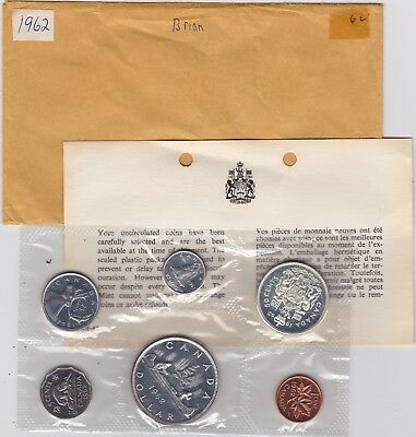 Original Canada 1962 Proof Like Coin Year Set with COA and mint envelope