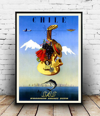 Chile : Vintage Air Travel advert, Wall art ,poster, Reproduction.