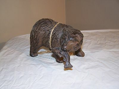 Grizzley Bear With Salmon Metal Art Statue