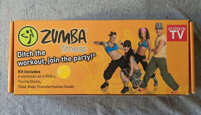 ZUMBA FITNESS KIT - 6 Workouts on 4 DVDs + Toning Sticks + Booklet - Unused