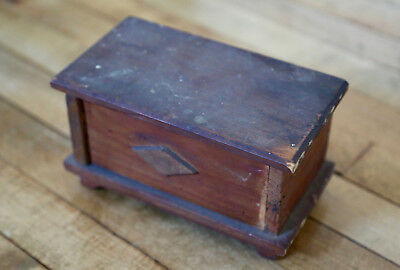 Authentic Antique 1930s Hand Made Wooden Trinket Box Vintage Small Size