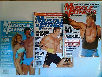 3 x Muscle & Fitness bodybuilding mags (Sept 1999, Mar, Apr 2000)