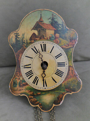 German Bavaria Wooden Clock Wall Antique Metal Gears Hand Painted Black Forest