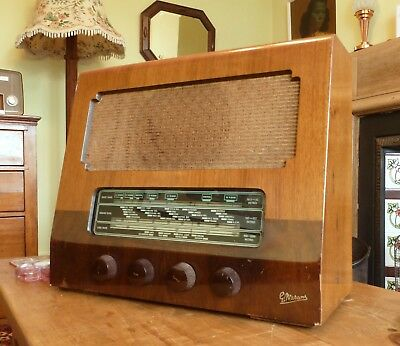 Vintage 1950 Marconi T26A Quality MW LW SW Wood Case Valve Radio NOT WORKING