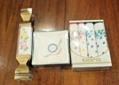 3 x VINTAGE Boxed LADIES Hankies Handkerchiefs cotton Unused still in boxed