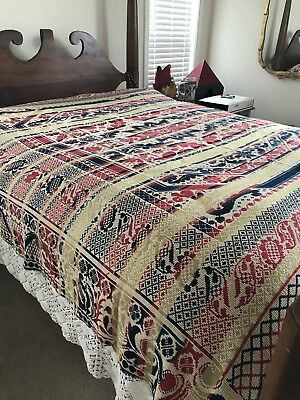 "Early Handmade American Coverlet: Red/White/Blue/Gold. 82""x78"""