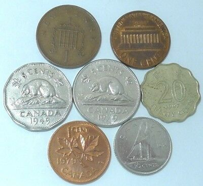 Mixed 7 Coin Lot / Different Coins / Lot #018