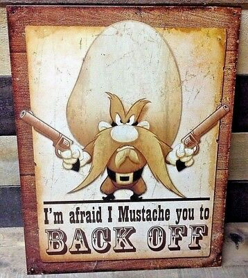YOSEMITE SAM Mustache Retro Metal Picture Poster TV Cartoon Bar Room Decor Gift