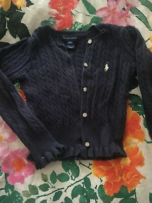 ralph lauren knitted cardigan age 4T navy blue with frill detail on cuff and hem