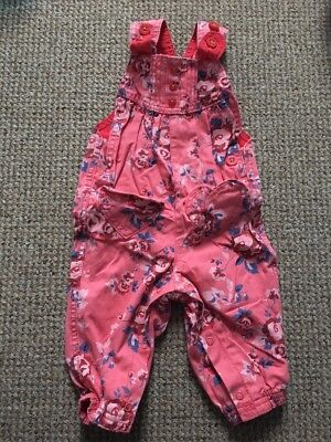 M& S Baby Girl Floral Dungarees Size 6-9 Months.