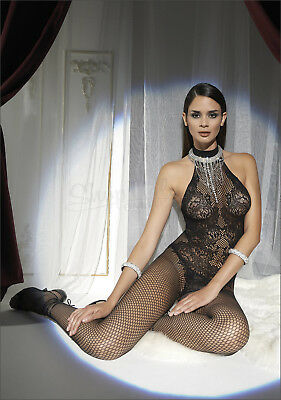 Trasparenze DOINA bodystocking catsuit fishnet tutina tuta sexy nero lingerie