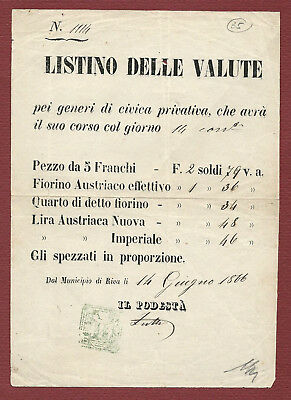 "Listino delle Valute del 14.6.1866 ""pei generi di civica privativa"""