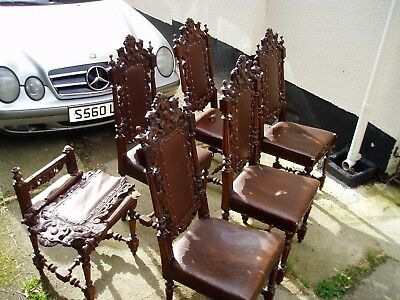 Set of Six Jacobean Style Victorian Hand Carved Chairs. For Restoration