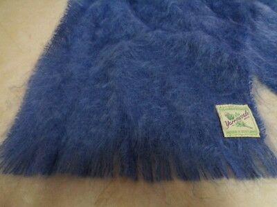 "Vintage 60s Scottish Blue Mohair  Wool Scarf by Yarrowvale Scotland 47"" by 10"""