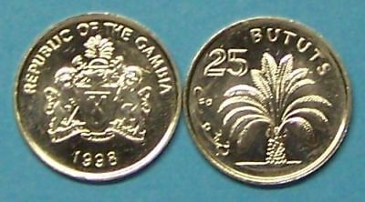 """Gambia   1998  25 Bututs  """"oil Palm""""  Km57  Uncirculated Coin"""