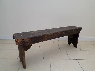 18th Century Pre Victorian Antique Simple Rustic Pine Bench / Settle