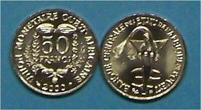 """West African States (Togo)  2000  50 Francs  """"taku""""  Km6  Uncirculated Coin"""
