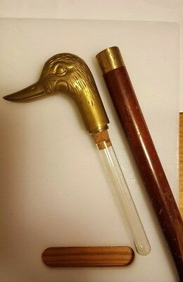 Walking Stick Handle Solid Brass Duck With Hidden Flask