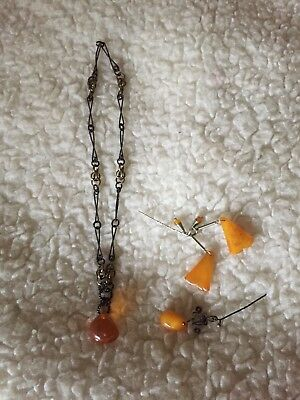 Real Baltic Amber Chain& Pendant And 2x Pins, Vintage , 3 Pieces