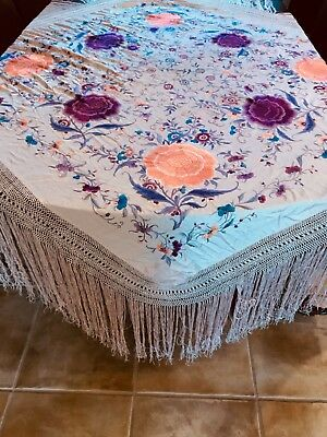 Antique / Vintage Victorian Vibrant Embroidered Pink Silk Piano SHAWL Wrap