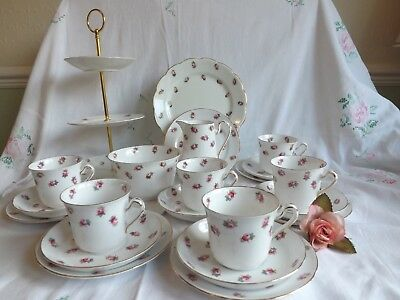 Pretty Vintage Bone China Jackson & Gosling Ditsy Pink Rosebud 21 Piece Tea Set