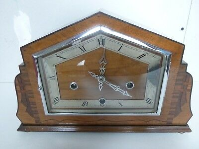 Inlaid Art Deco Westminster Chime Mantel Clock