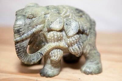 Solid Vintage 8cm Carved Soapstone Elephant Statue Figurine Paperweight Marble